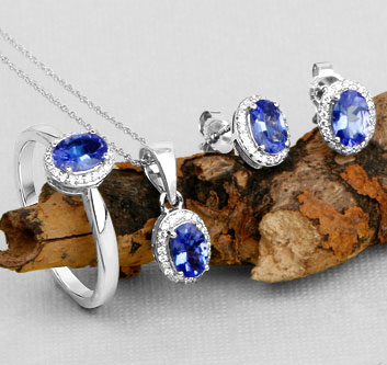14K White Gold Tanzanite Set