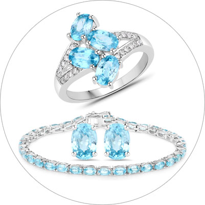 Blue Zircon Silver Jewelry Collection