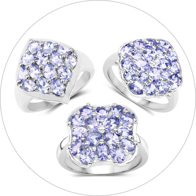 Tanzanite Cluster Silver Jewelry Collection