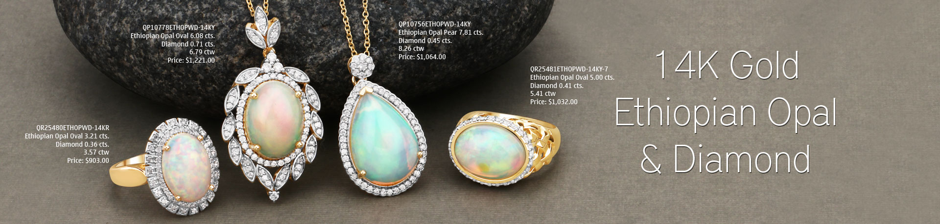 Ethiopian Opal & Diamond Gold Jewelry