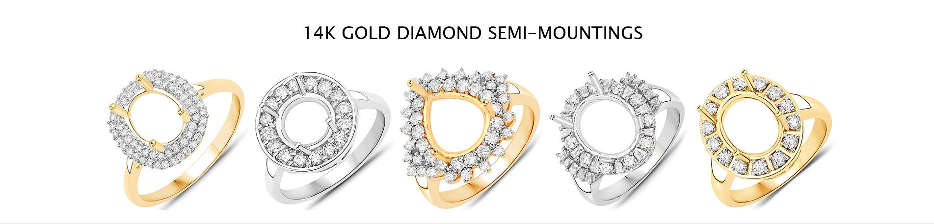 14K Gold Diamond Semi-mountings